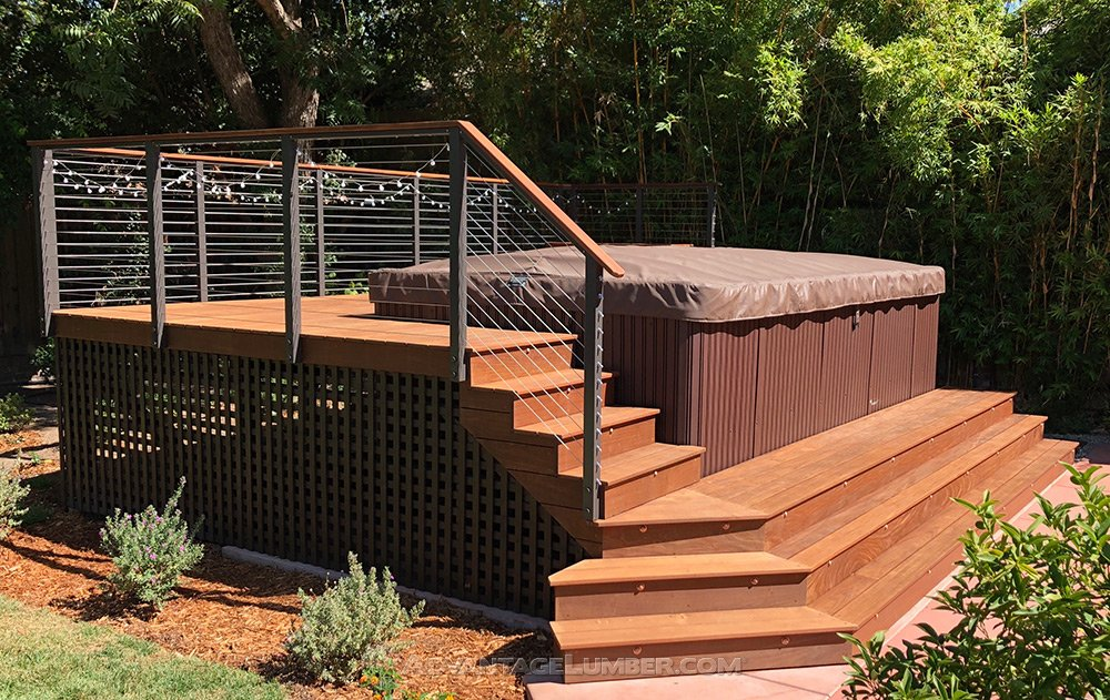 LED Lights Are Utilized To Illuminate Steps. The Deck Substructure Is  Constructed Of Clear Redwood And Is Designed To Allow Removal Of Spa Side  Panels If ...