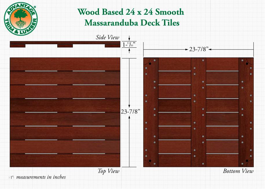 Massaranduba 24x24 Smooth Deck Tiles - Decking Tiles - Ipe Wood Deck Tiles