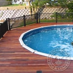 Beautiful Tigerwood Deck with a Pool